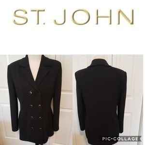 ST. John Black Kint  Button Down Cardigan